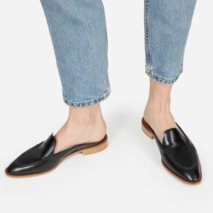 Everlane black leather modern loafer mules 7
